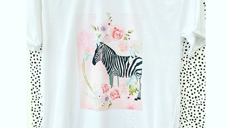 Adults Zebra pastel print t-shirt
