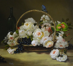 basket of Roses with Love Birds 20x22_ed