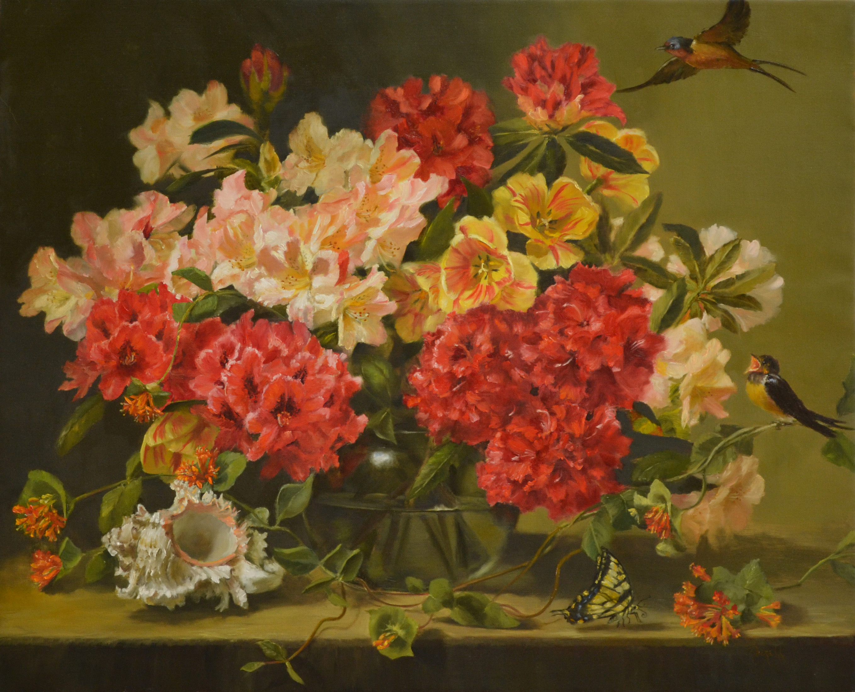 Rhodies and Rembrandt Tulips 26x30