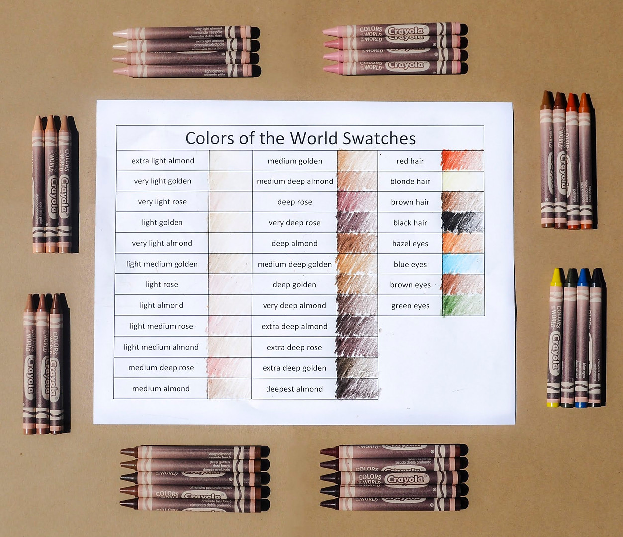 2020 Crayola Colors of the World Swatche