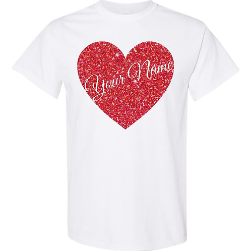 Custom Heart Glitter T-Shirt