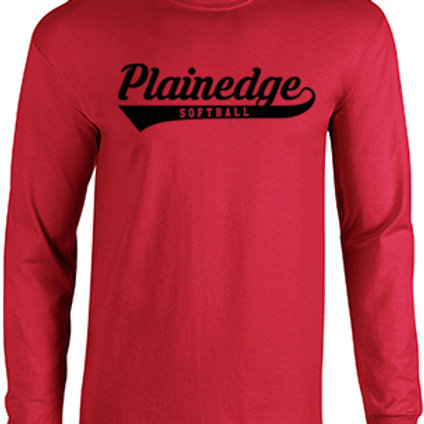 Plainedge Script Red Cotton Long Sleeve