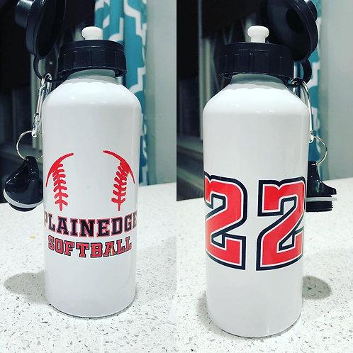 Plainedge Softball 20 oz. Metal Water Bottle