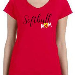 Women's Vneck -Softball Mom Red