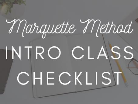Marquette Method Intro Class Checklist