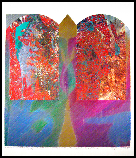 A diptych in dichotomy, off this earth with Cartesian doubt, without a center, time divides.