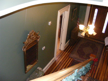 Looking down from second floor