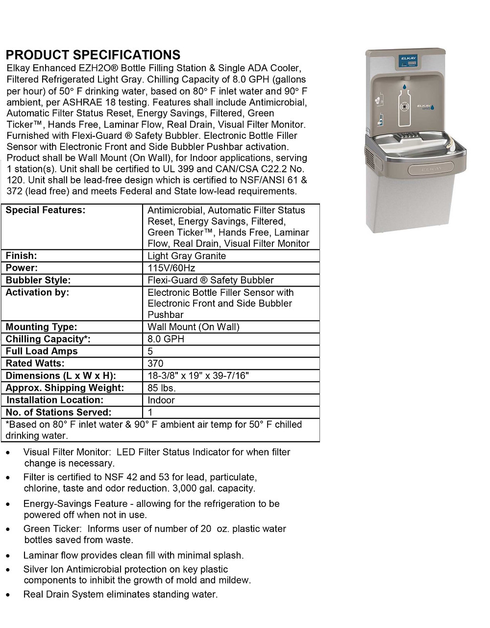LZS8WSLP Elkay Enhanced EZH2O Bottle Filling Station Specifications