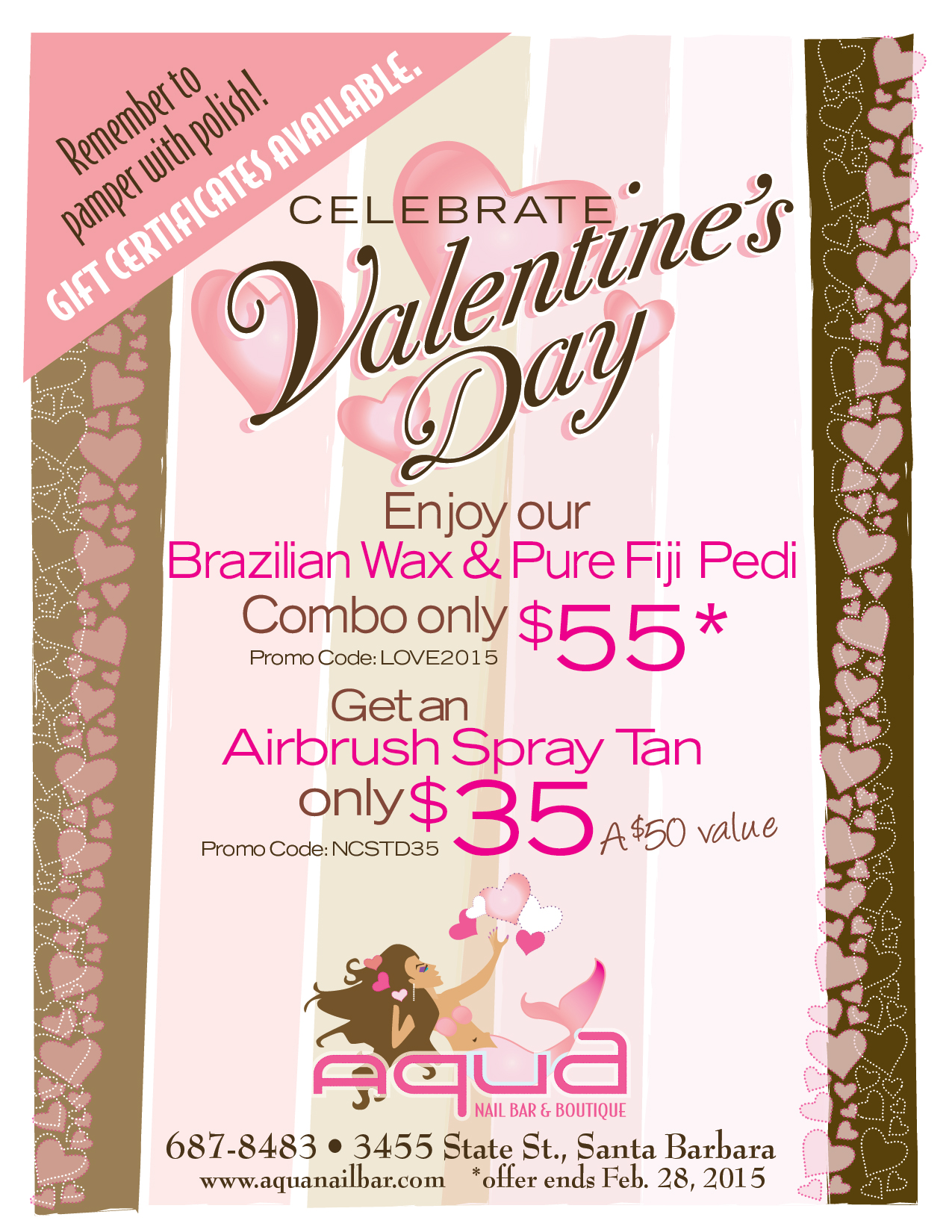 Aqua nail bar Valentine's Day flyer