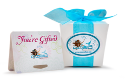 Aqua giftcard and gift box label