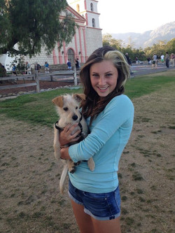 Scout enjoying an evening at the Mission in Santa Barbara with Lilly! Although I would love to keep