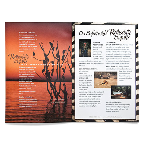 Rothschild's safaris brochure inside