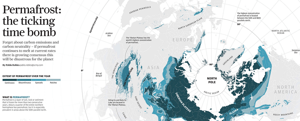SCMP uses increasingly dark color os same/similar hue to portray the increasingly intensive permafrost melting rate.