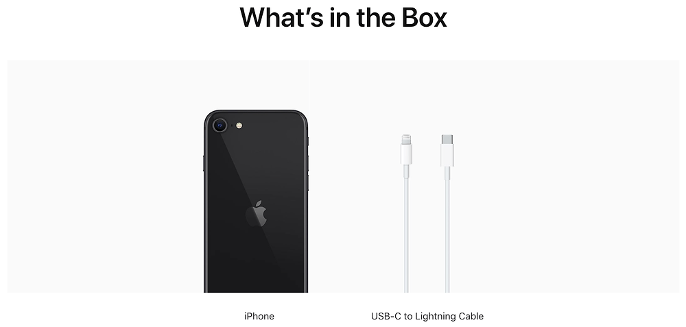 What's in the box, if you purchase iPhone SE now. Seen at Apple Malaysia website. This also applies to iPhone 11