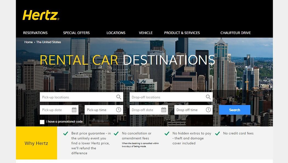 Hertz 's current website design at the time of writing.