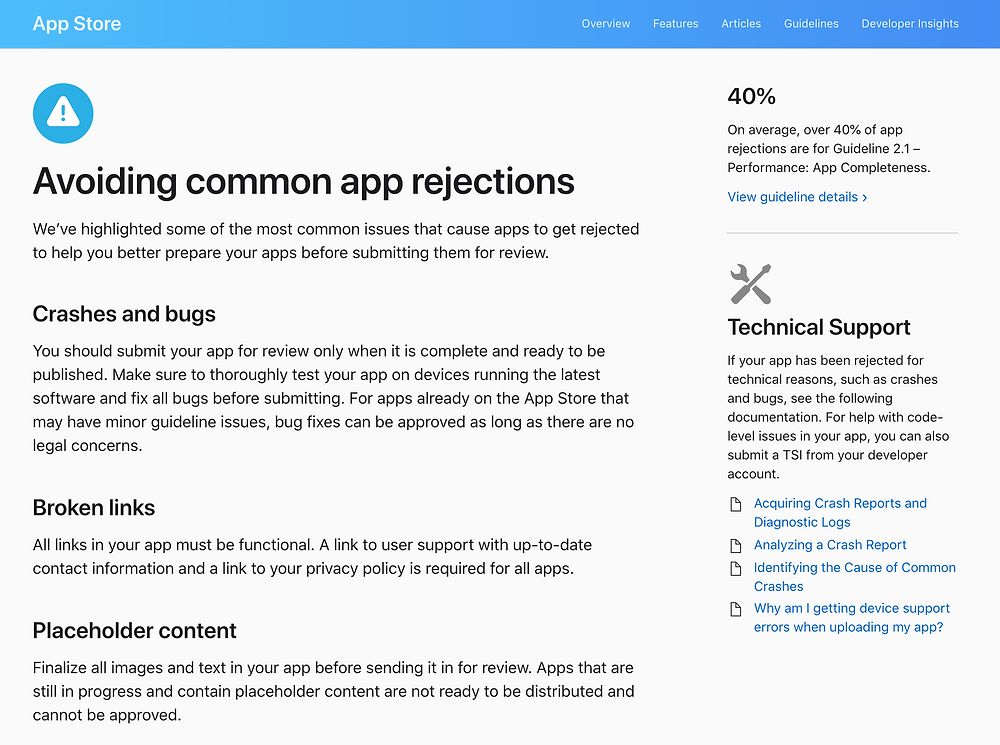 Avoid common rejections to get your app published faster