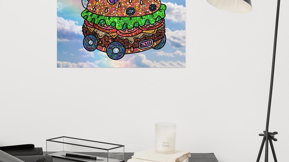 Beep beep to burgertown glitter poster