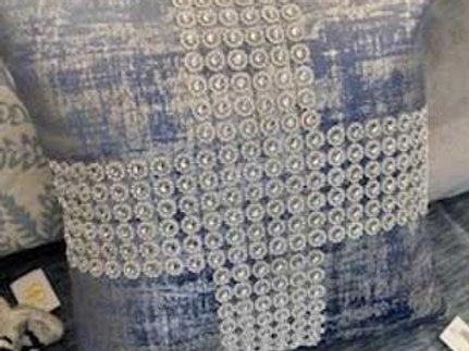 Blue/Silver Rhinestone Pillow