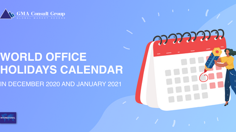 World Office Holidays Calendar in December 2020 and January 2021