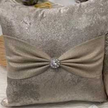 Champagne / Silver Bow Pillow