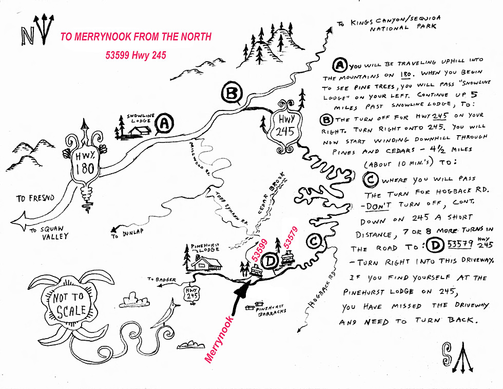 Directions to Merrynook from the North