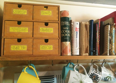 cookbook collection and tea selection