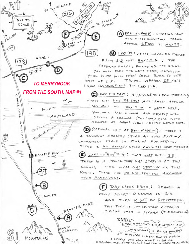 Directions to Merrynook from the South p1
