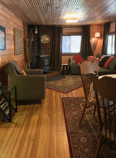living and dining in one cozy room