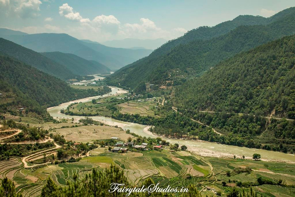 Punakha valley view from the topmost floor of Khamsum Yulley Namgyal Chorten, Punakha - Bhutan
