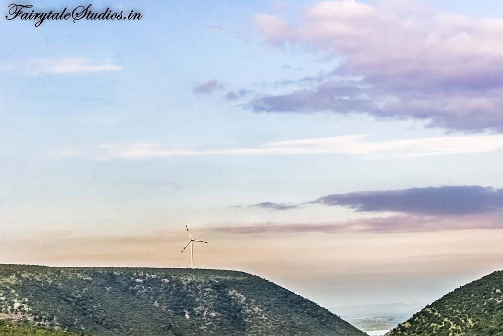 A windmill on a distant hill seen from Gandikota fort