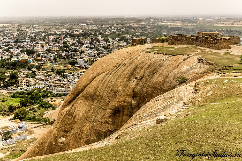 The unique structure of rock with Bhongir town in the backdrop