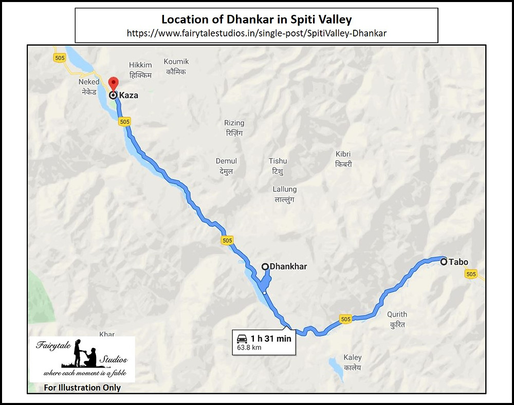 Location of Dhankar in Spiti Valley, Himachal Pradesh_India