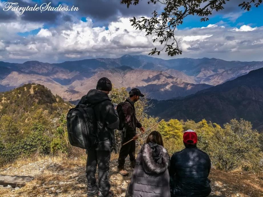 View from the Flag Hill point at Jabarkhet Nature reserve, unexplored place of visit near Mussoorie, Uttarakhand - India
