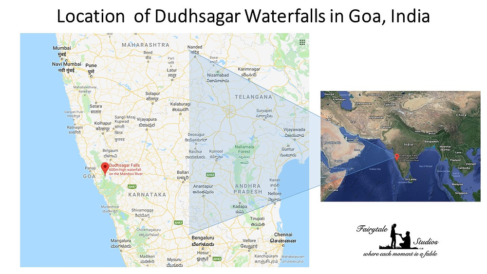 Indian Map showing location of Dudhsagar Falls in Goa