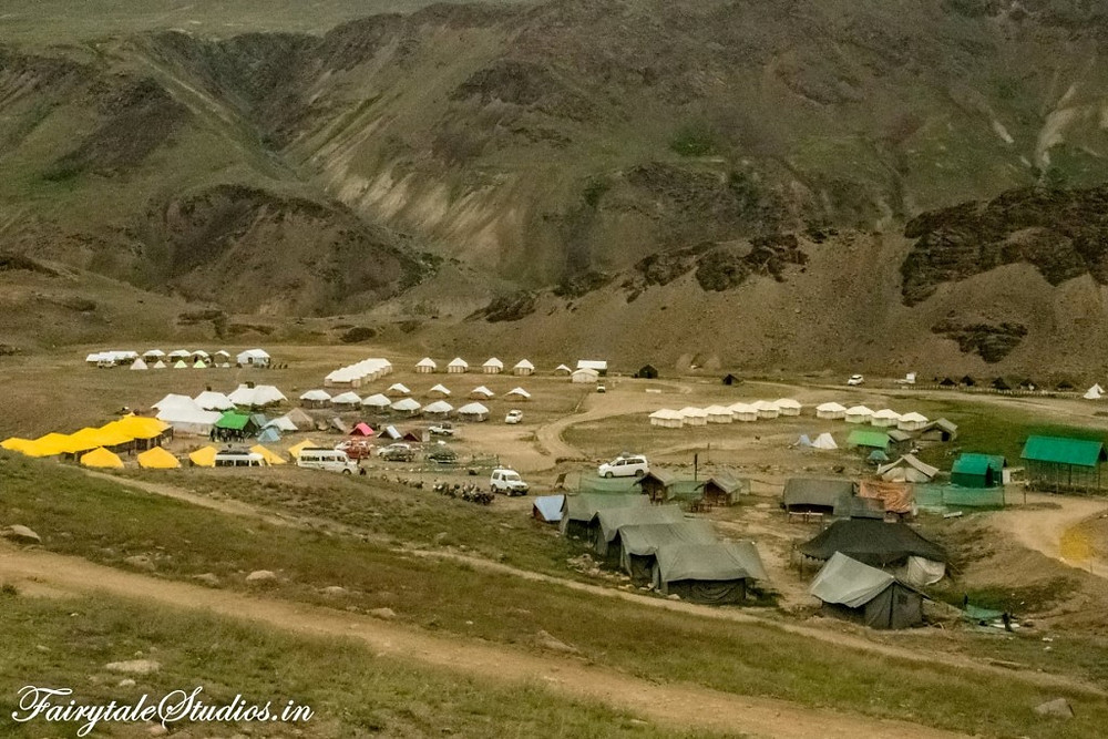 Parking and camping site 2 kilometre away from Chandratal Lake, Spiti Valley - Himachal Pradesh, India