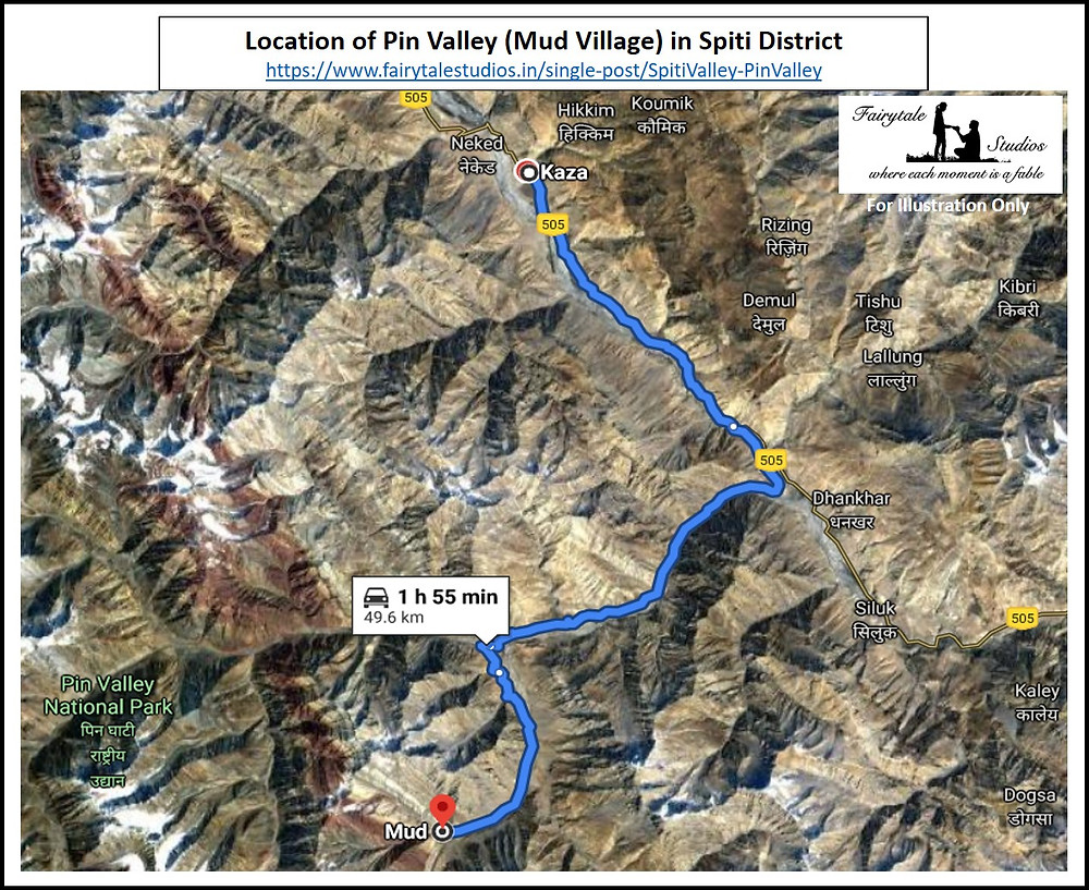 Location of Pin Valley in Spiti district - Himachal Pradesh, India