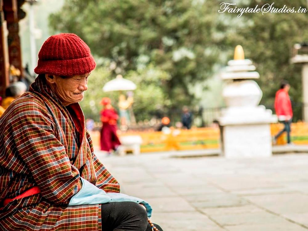 Elderly praying at Memorial chorten at Thimphu, Bhutan