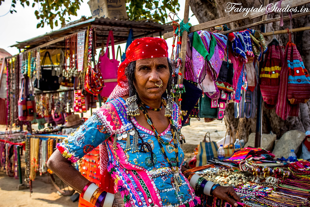 Traditional attire worn by a local woman selling stuff in Hampi bazaar