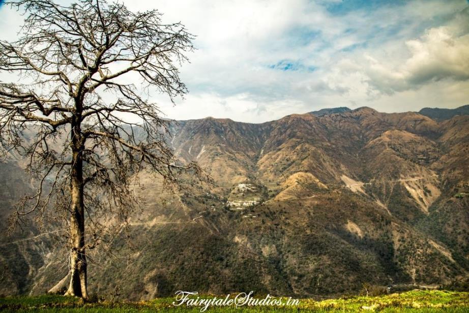View from Sainji Village, an unexplored place of visit near Mussoorie, Uttarakhand - India