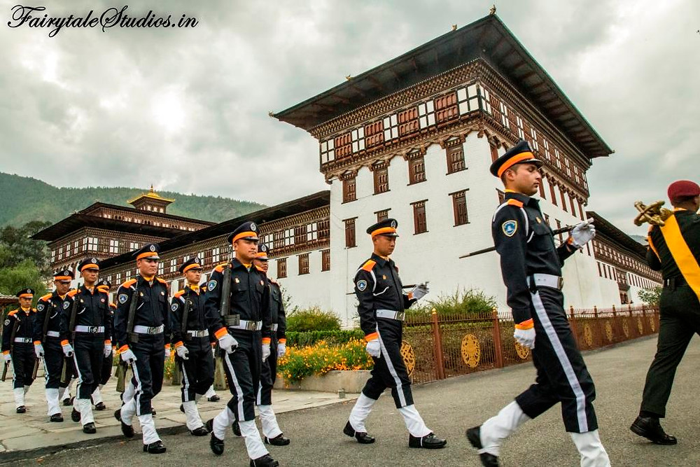 Soldiers marching at Thimphu dzong, Bhutan