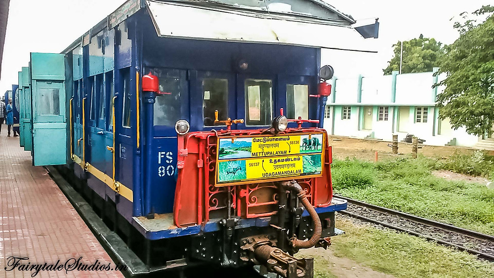The front of the train. The train runs once each day from Mettupalayam to Ooty and back.
