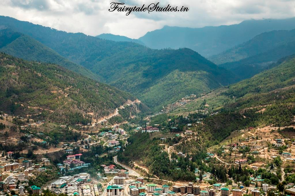 Amazing landscapes with Thimphu in the middle surrounded by green mountains