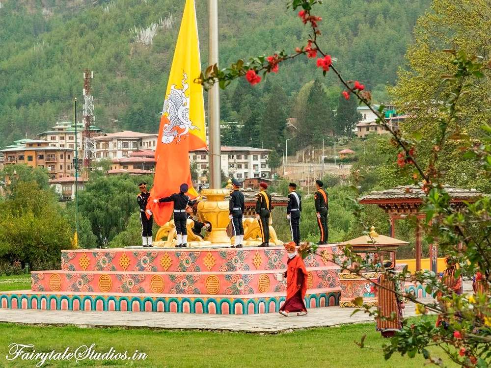 Flag of Bhutan brought down at the end of the day at Tashichho Dzong, Thimphu