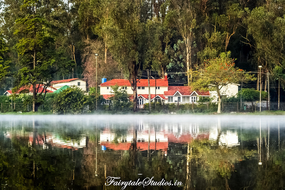 The foggy layer on the top of Kodai lake in the early morning