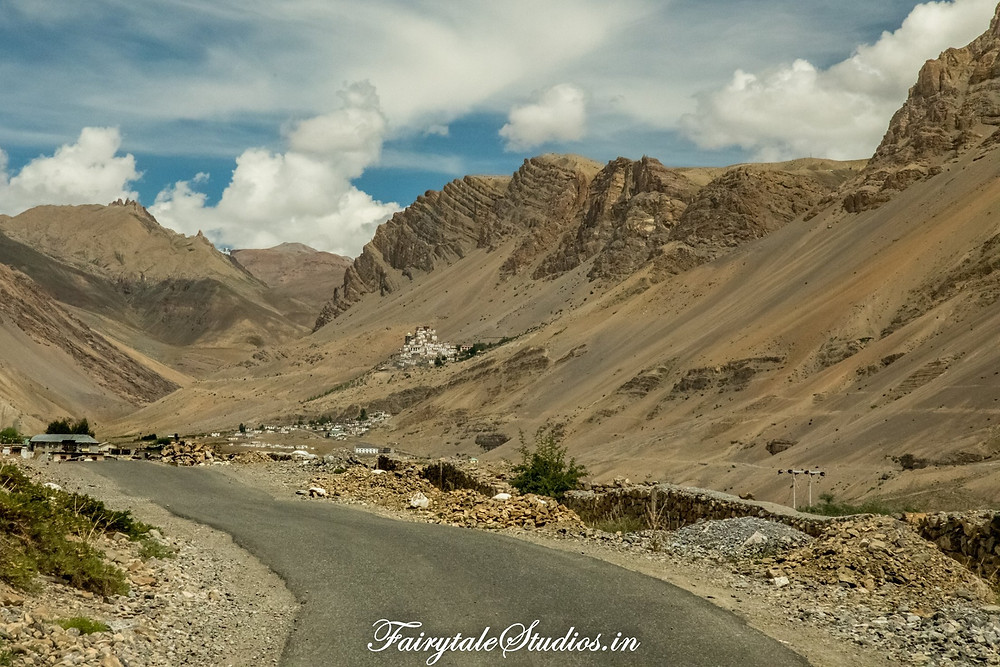Road from Kaza to Key monastery (the monastery can be seen on the hill)