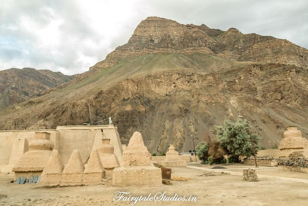 Mud and clay chortens around surrounding the temples in the old Tabo monastery complex, Tabo - Spiti Valley, Himachal Pradesh