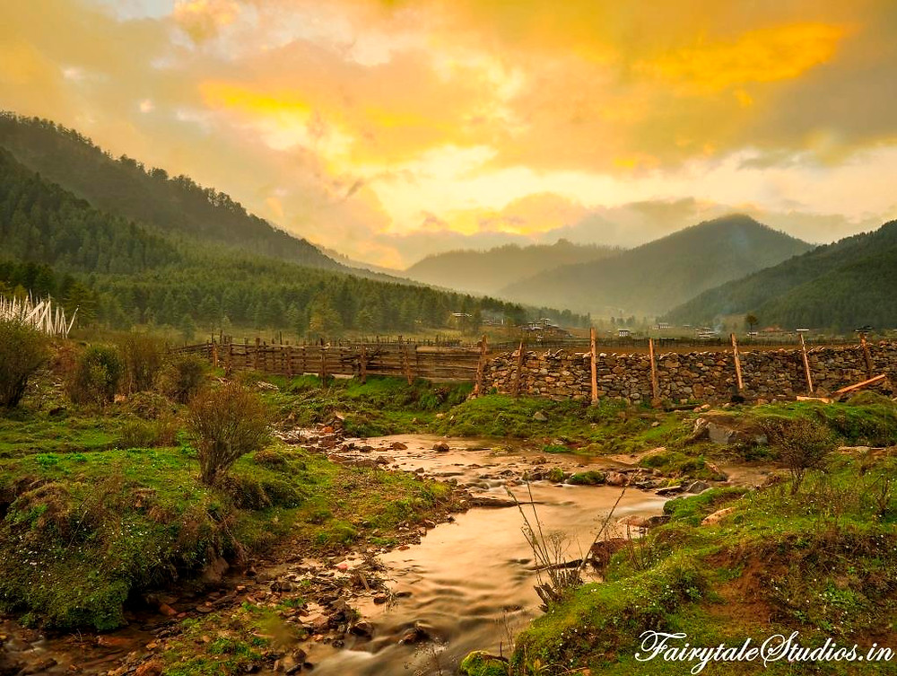 Beautiful sunset as seen from  Phobjikha or Gangtey Valley, Bhutan