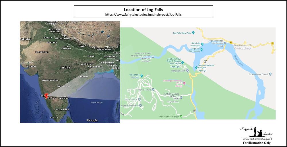 Location of Jog Falls, Karnataka - India