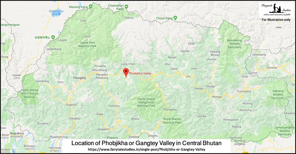 Location of Phobjikha or Gangtey Valley in Central Bhutan