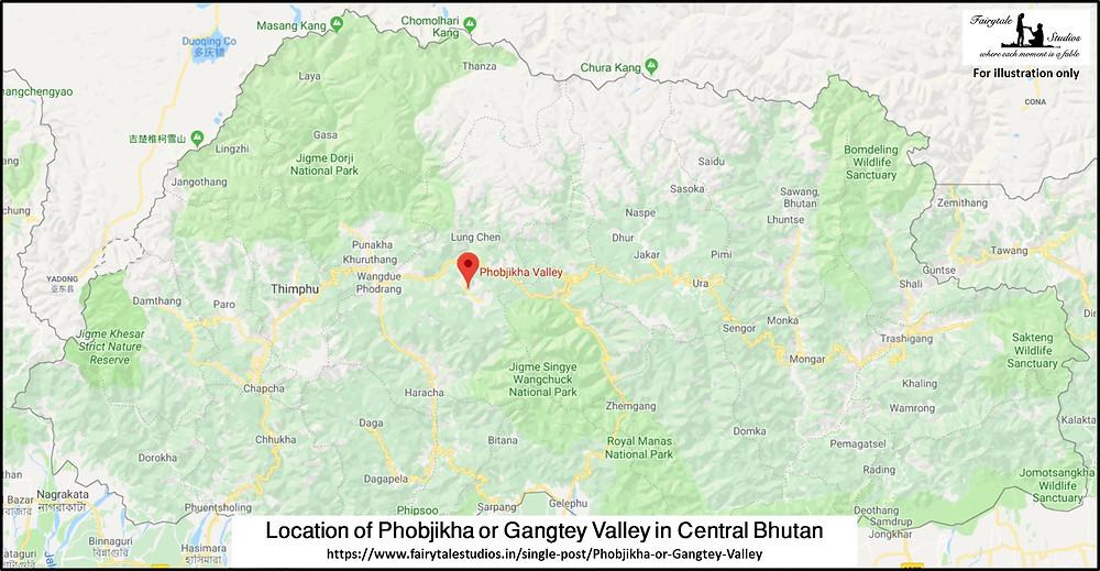 Location of Phobjikha or Gangtey Valley in Central Bhutan